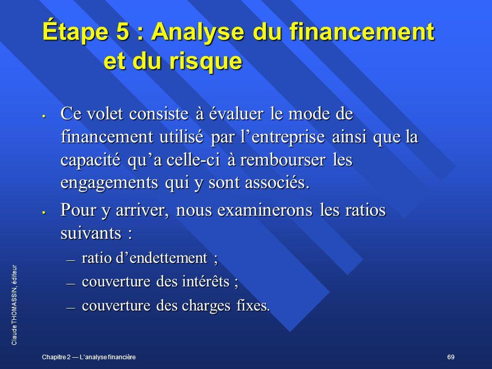 Étape 5 : Analyse du financement et du risque