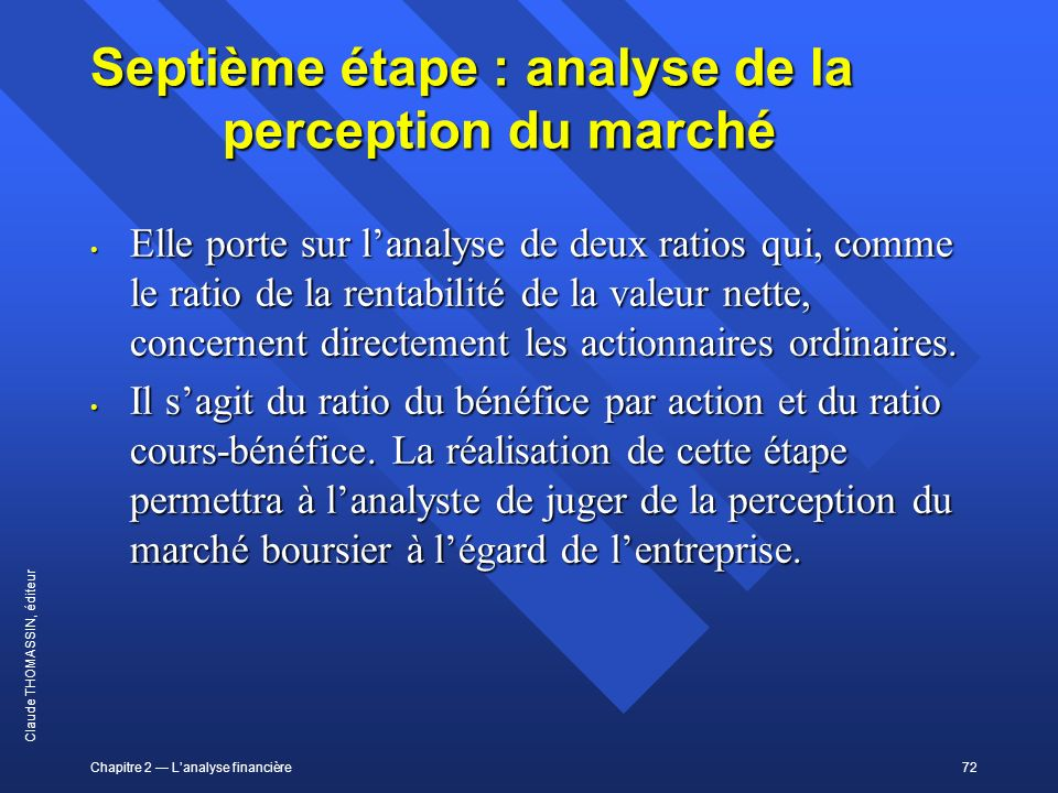 Septième étape : analyse de la perception du marché