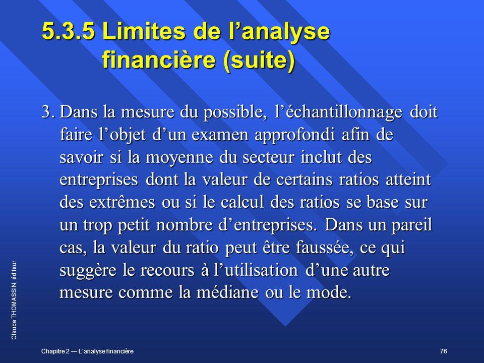 5.3.5 Limites de l'analyse financière (suite)