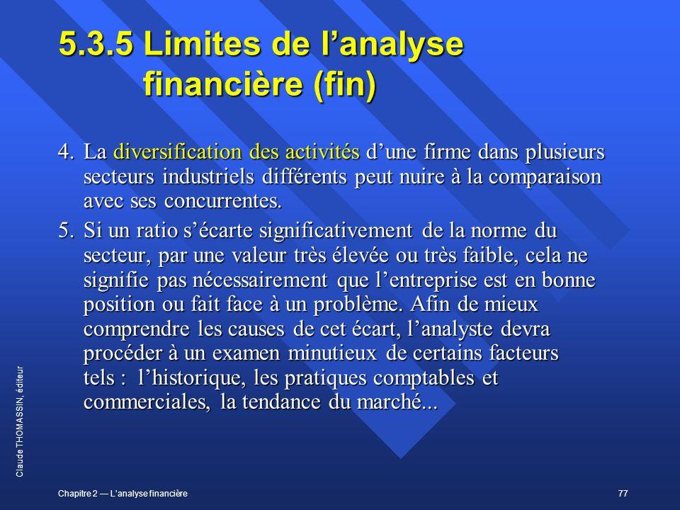 5.3.5 Limites de l'analyse financière (fin)
