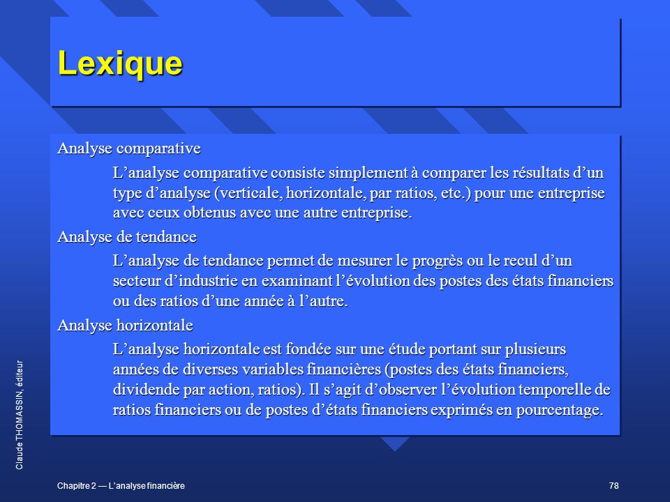 Lexique Analyse comparative