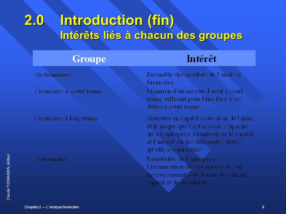 2.0 Introduction (fin) Intérêts liés à chacun des groupes