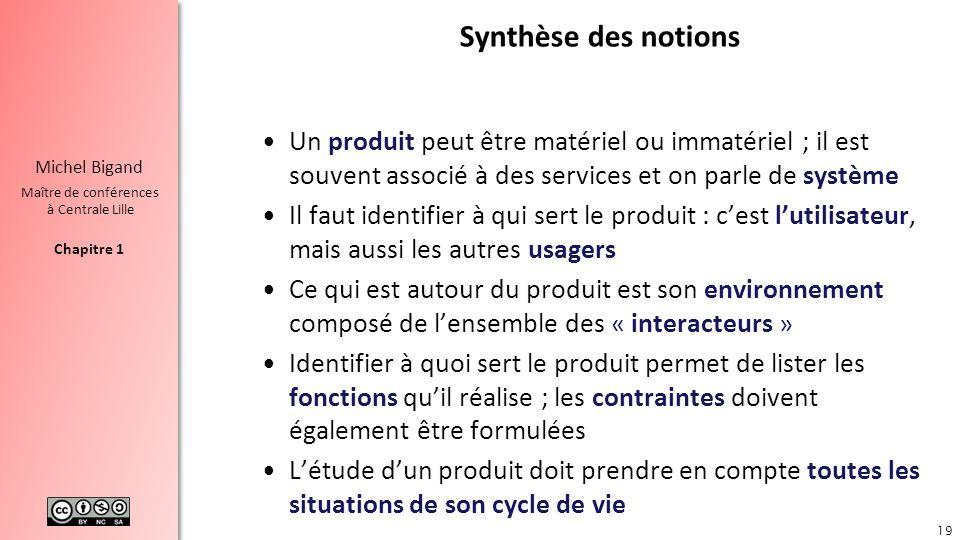Synthèse des notions Un produit peut être matériel ou immatériel ; il est souvent associé à des services et on parle de système.