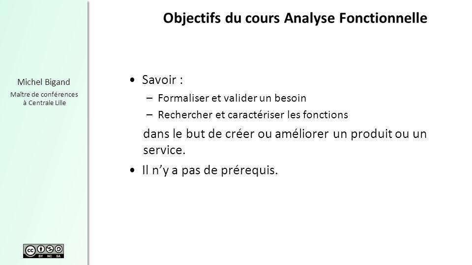 Objectifs du cours Analyse Fonctionnelle