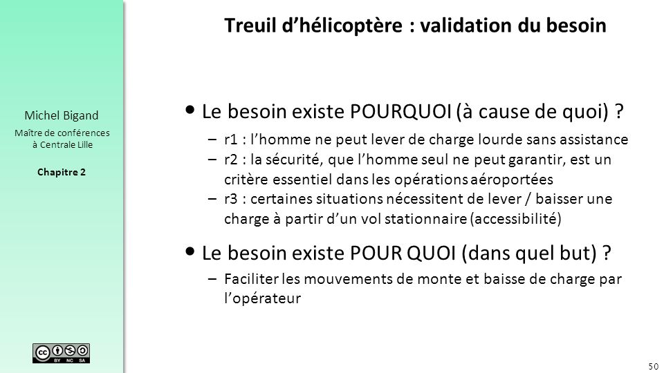 Treuil d'hélicoptère : validation du besoin