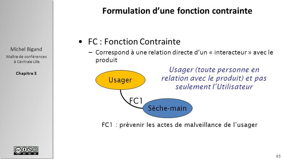 Formulation d'une fonction contrainte