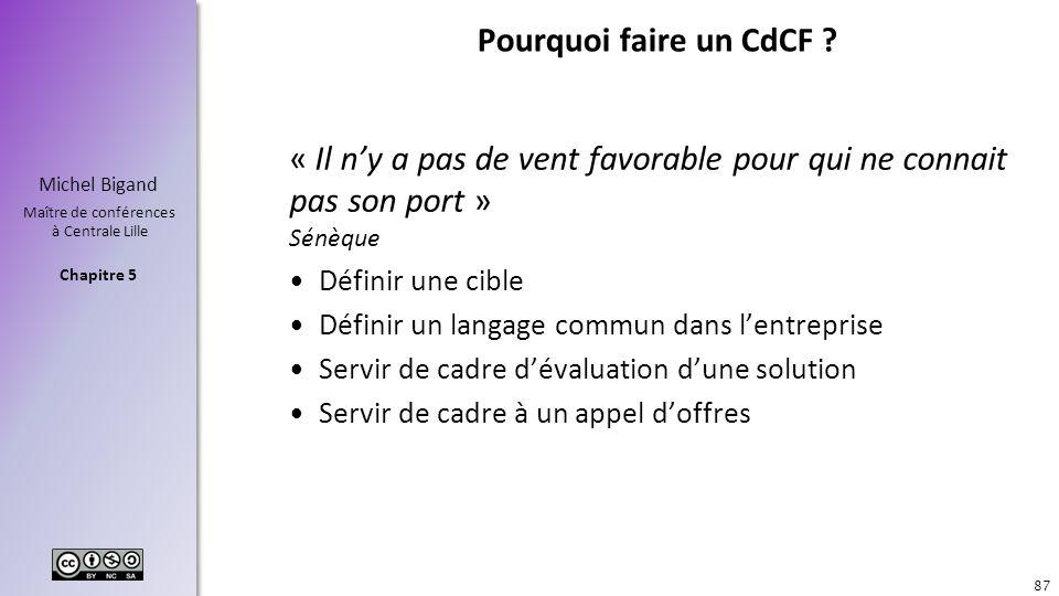 Pourquoi faire un CdCF « Il n'y a pas de vent favorable pour qui ne connait pas son port » Sénèque.