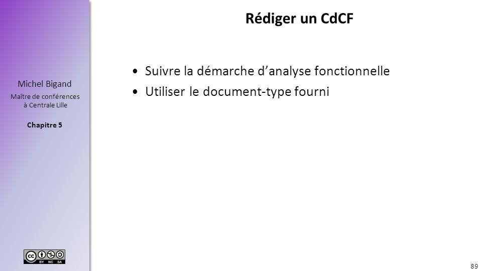 Rédiger un CdCF Suivre la démarche d'analyse fonctionnelle
