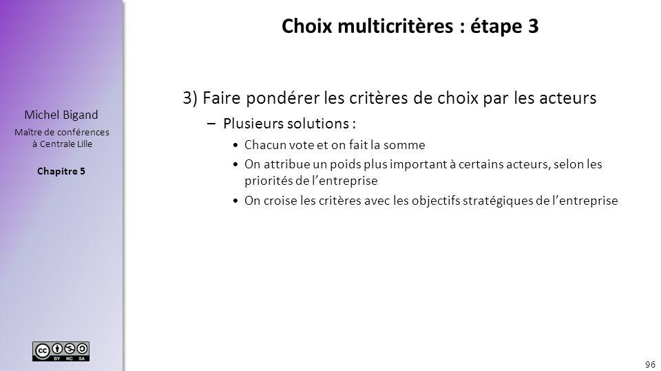 Choix multicritères : étape 3