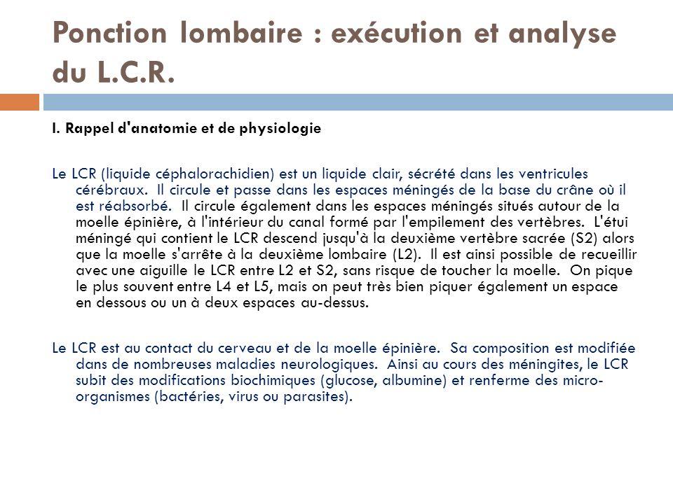 Ponction lombaire : exécution et analyse du L.C.R.