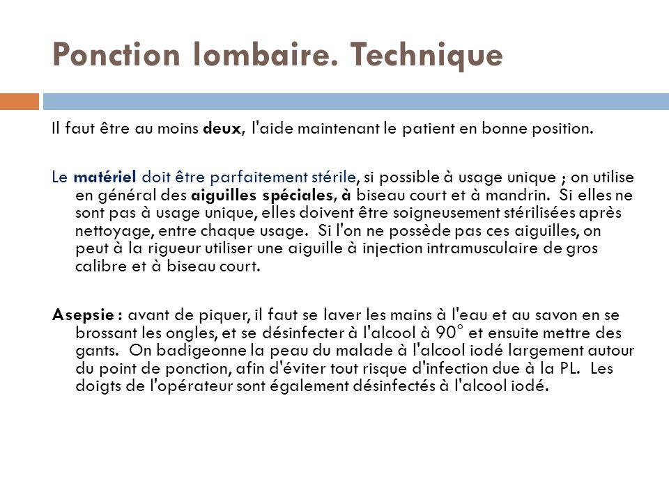 Ponction lombaire. Technique