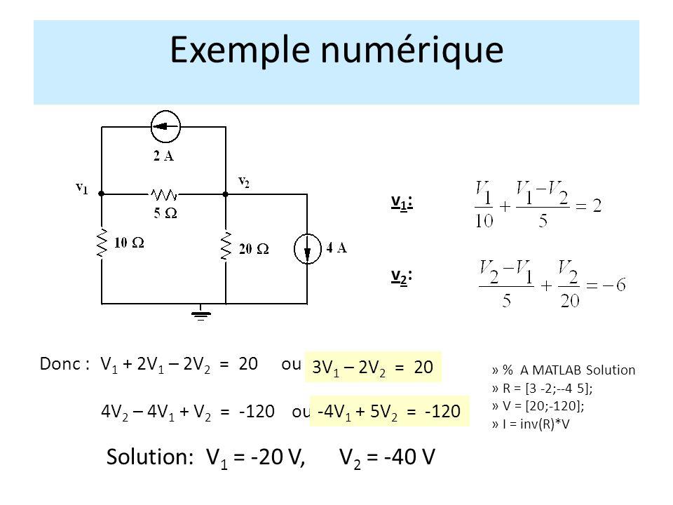 Exemple numérique Solution: V1 = -20 V, V2 = -40 V v1: v2: Donc :