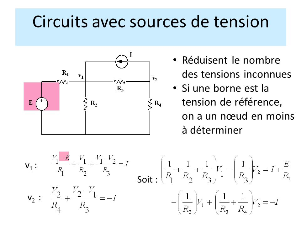 Circuits avec sources de tension