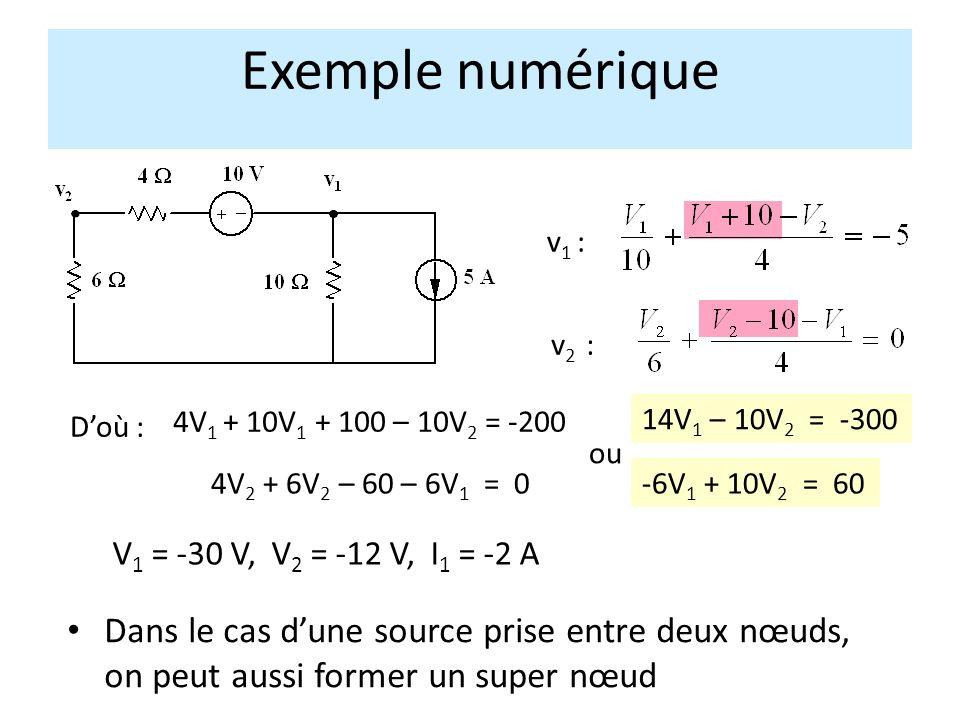 Exemple numérique v1 : v2 : D'où : 4V1 + 10V1 + 100 – 10V2 = -200. 14V1 – 10V2 = -300. ou. 4V2 + 6V2 – 60 – 6V1 = 0.