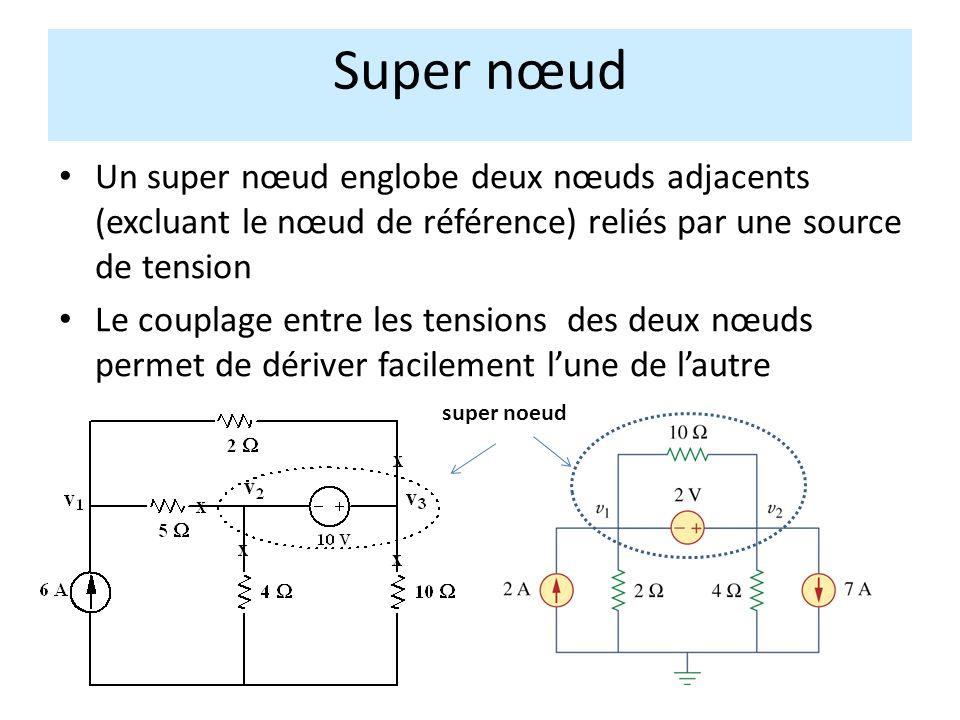 Super nœud Un super nœud englobe deux nœuds adjacents (excluant le nœud de référence) reliés par une source de tension.
