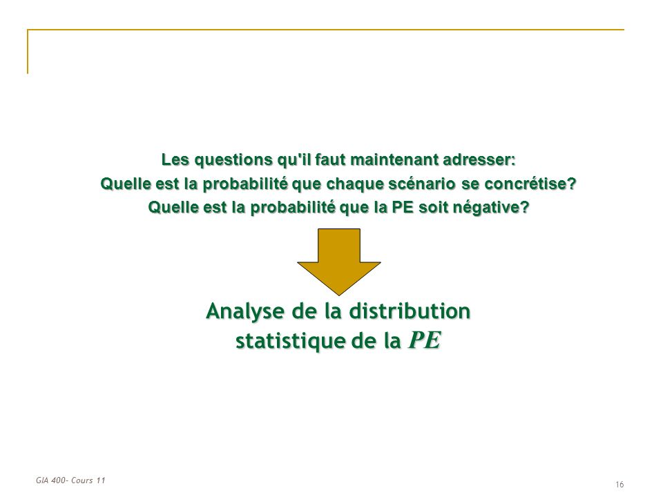 Analyse de la distribution statistique de la PE