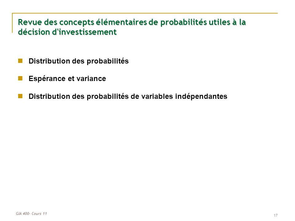 Revue des concepts élémentaires de probabilités utiles à la décision d investissement