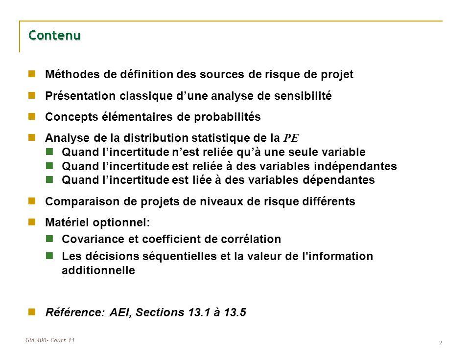 Contenu Méthodes de définition des sources de risque de projet