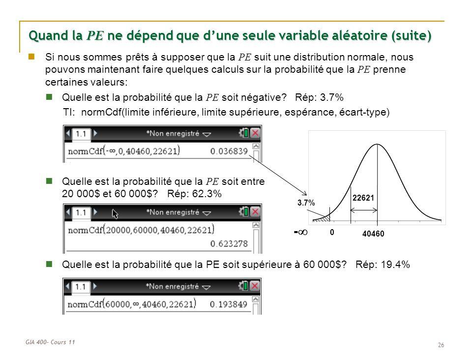 Quand la PE ne dépend que d'une seule variable aléatoire (suite)