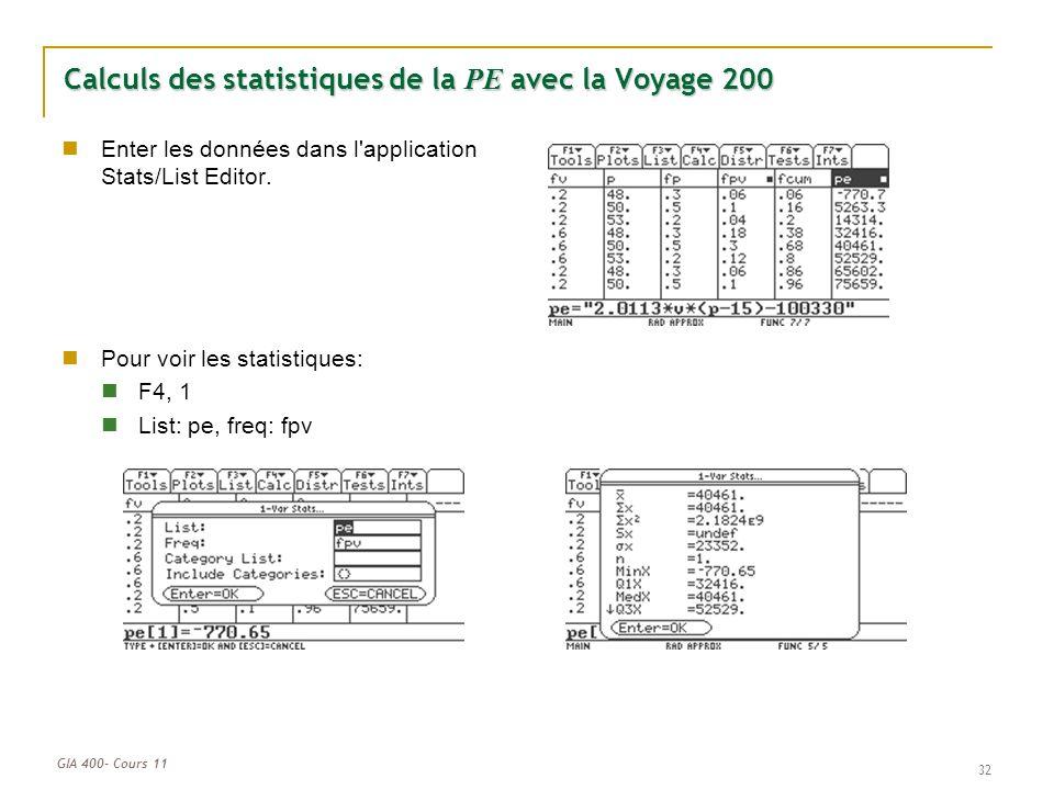 Calculs des statistiques de la PE avec la Voyage 200
