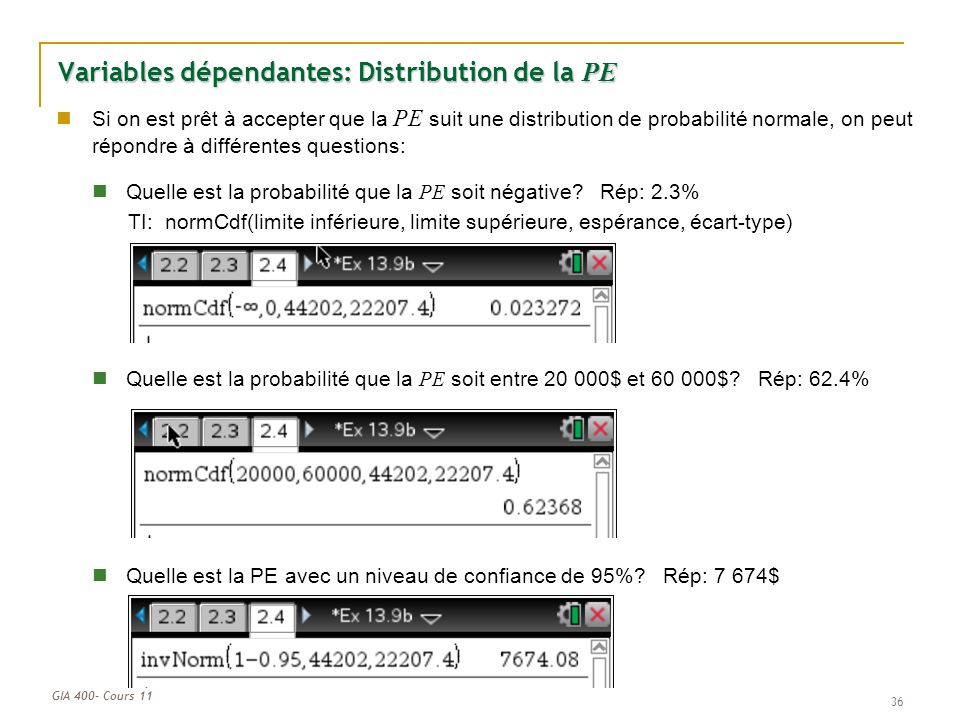 Variables dépendantes: Distribution de la PE