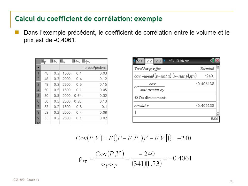 Calcul du coefficient de corrélation: exemple