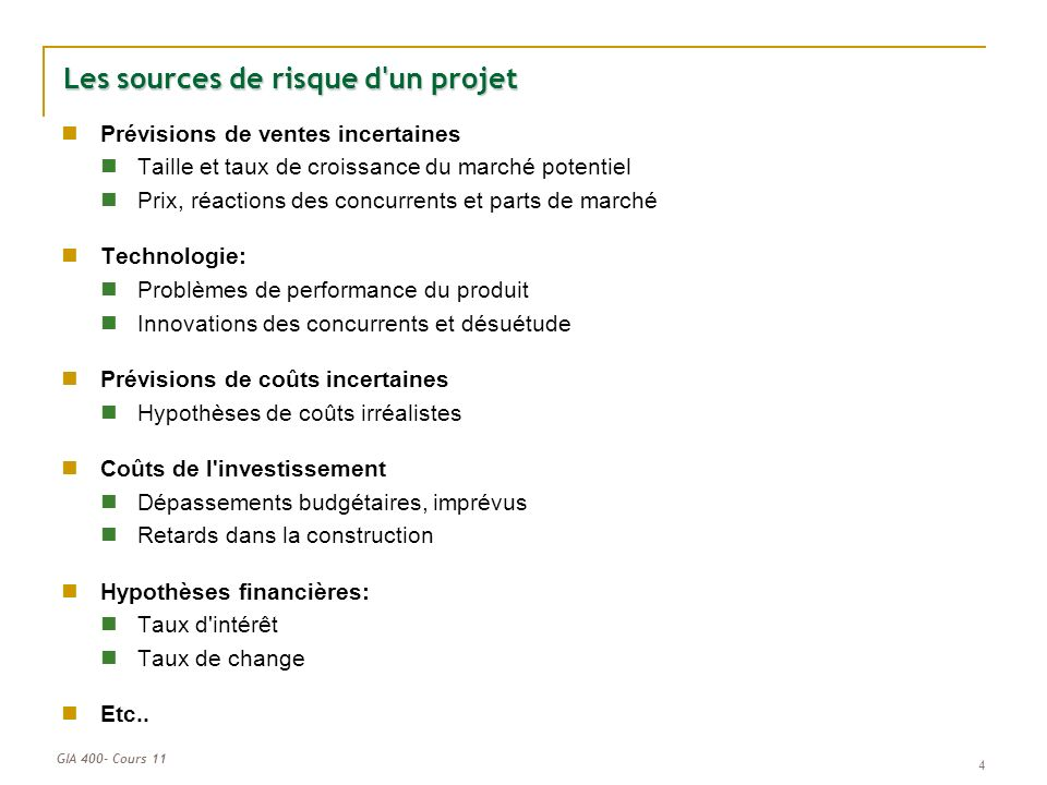 Les sources de risque d un projet