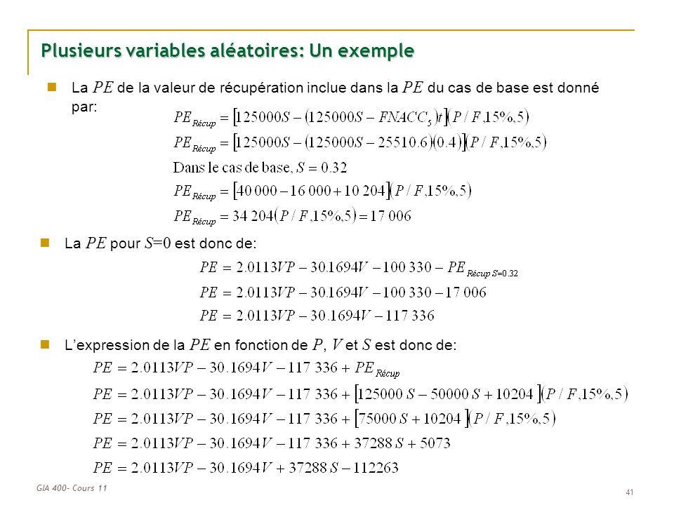 Plusieurs variables aléatoires: Un exemple