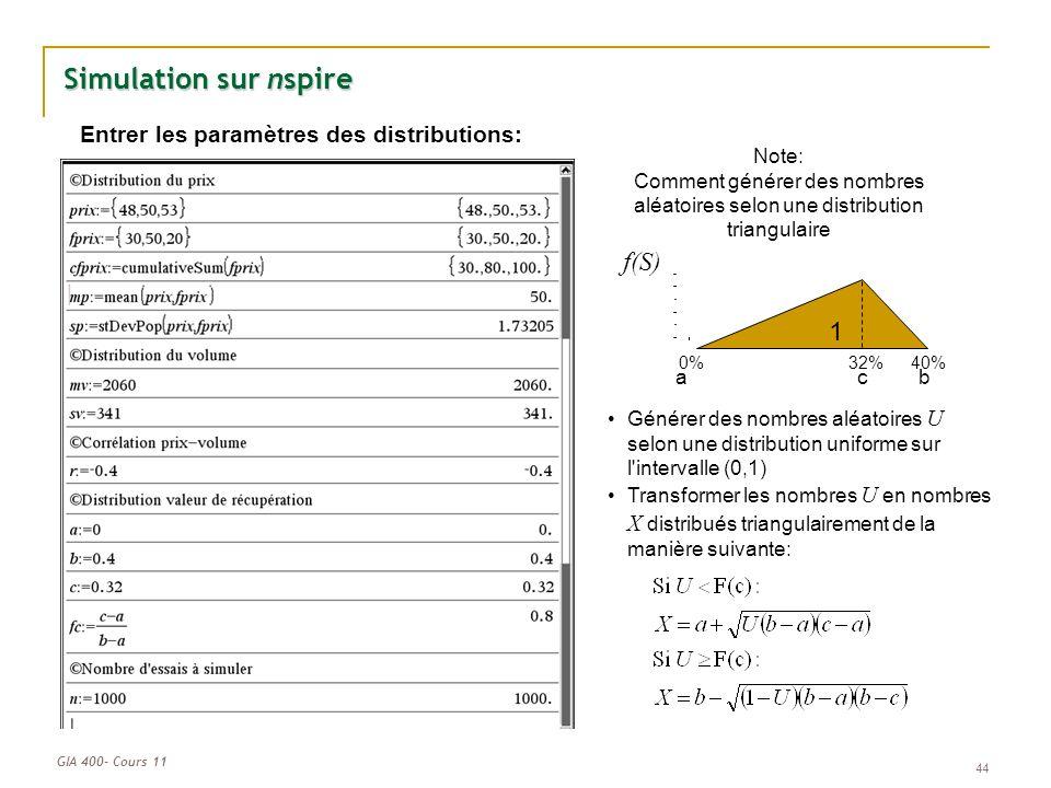 Entrer les paramètres des distributions: