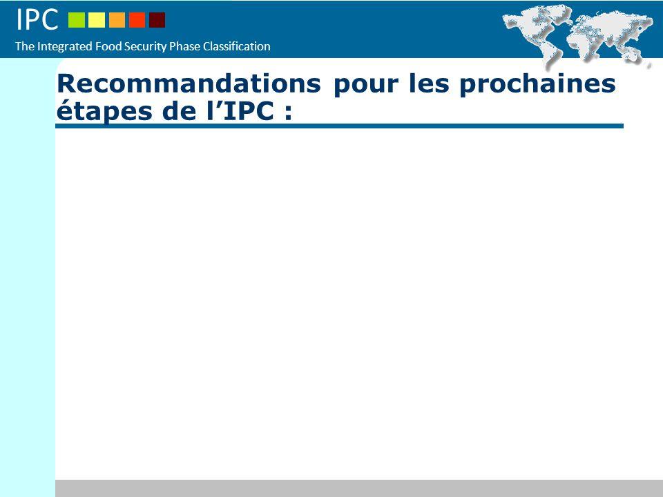 Recommandations pour les prochaines étapes de l'IPC :