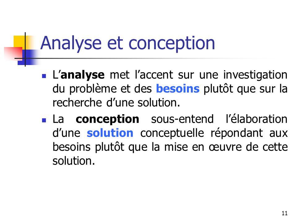 Analyse et conception L'analyse met l'accent sur une investigation du problème et des besoins plutôt que sur la recherche d'une solution.