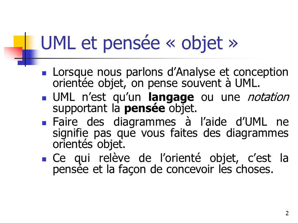 UML et pensée « objet » Lorsque nous parlons d'Analyse et conception orientée objet, on pense souvent à UML.
