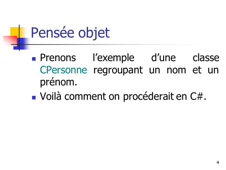 Pensée objet Prenons l'exemple d'une classe CPersonne regroupant un nom et un prénom.