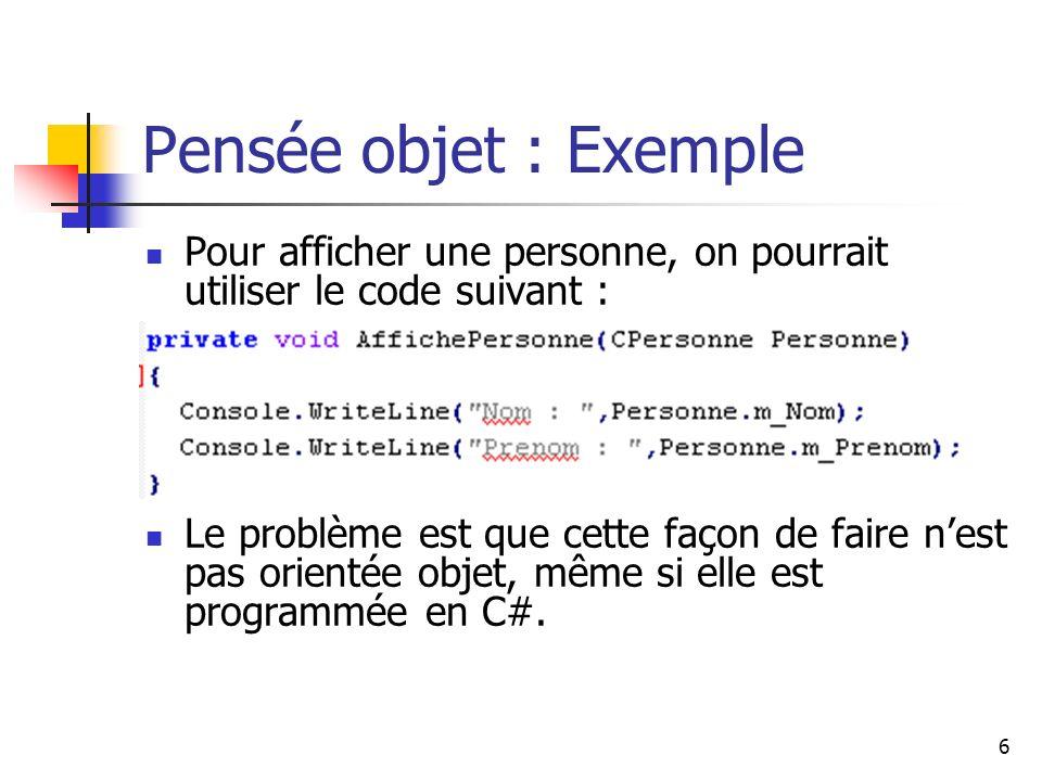 Pensée objet : Exemple Pour afficher une personne, on pourrait utiliser le code suivant :