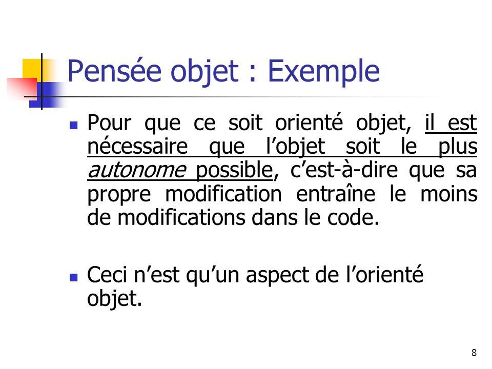 Pensée objet : Exemple
