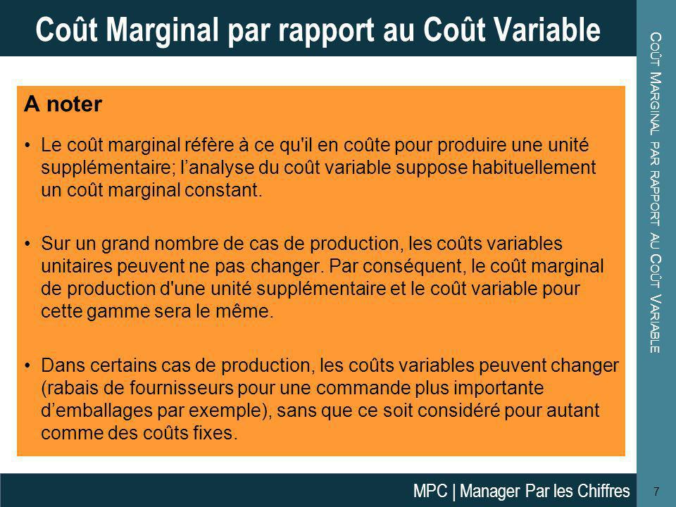 Coût Marginal par rapport au Coût Variable