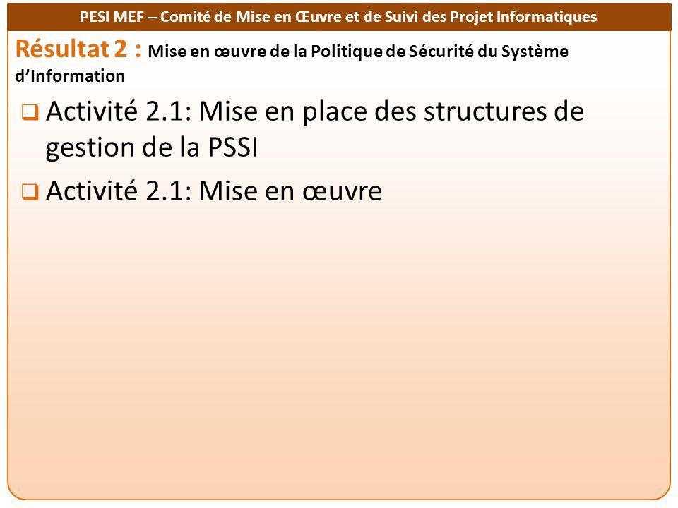 Activité 2.1: Mise en place des structures de gestion de la PSSI