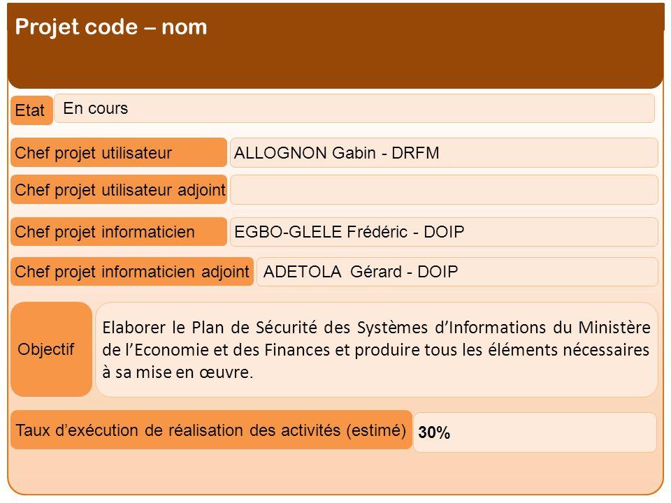 Projet code – nom Etat. En cours. Chef projet utilisateur. ALLOGNON Gabin - DRFM. Chef projet utilisateur adjoint.