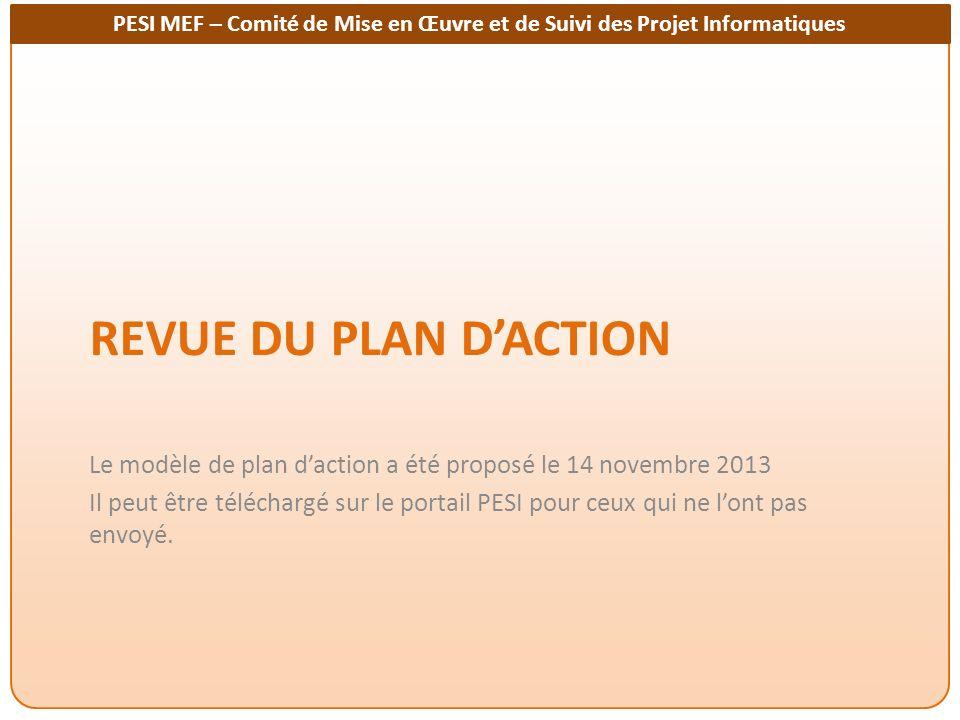 Revue du plan d'action Le modèle de plan d'action a été proposé le 14 novembre 2013.