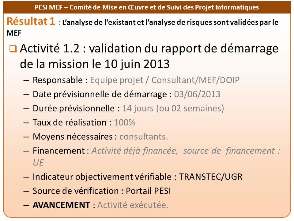 Résultat 1 : L'analyse de l'existant et l'analyse de risques sont validées par le MEF