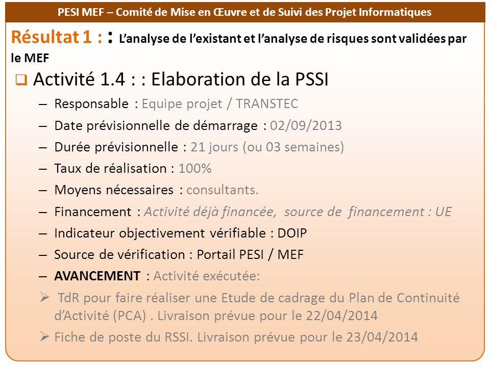 Activité 1.4 : : Elaboration de la PSSI