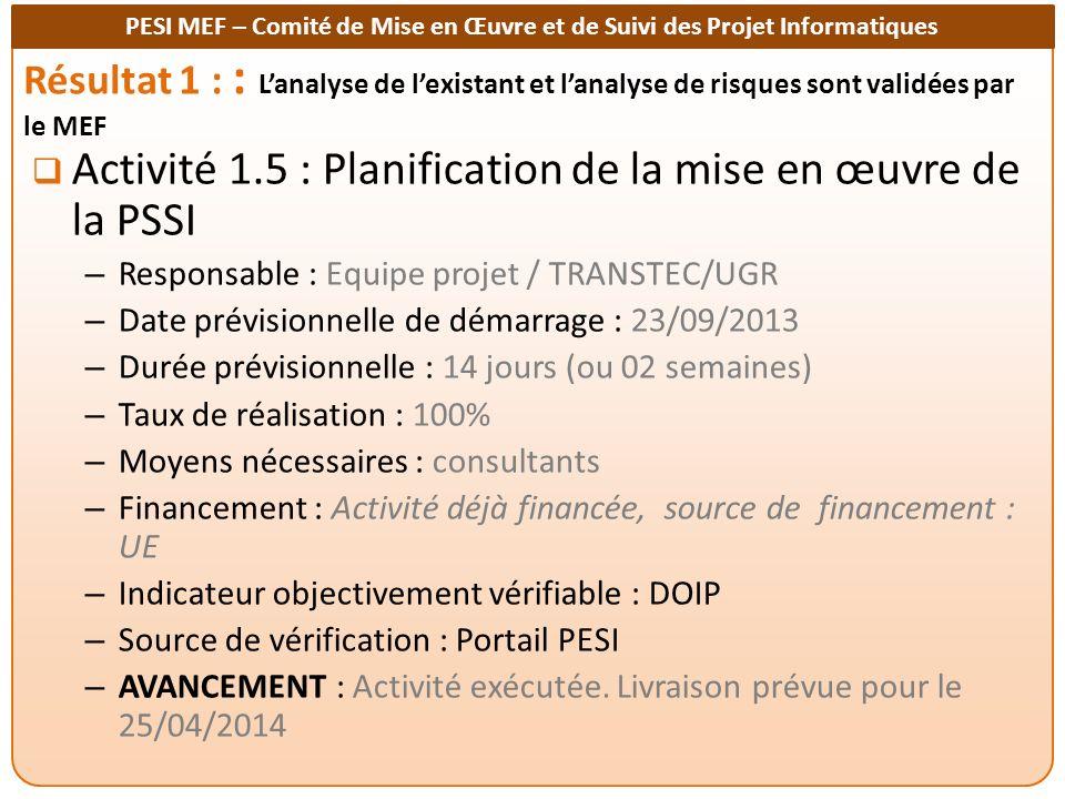 Activité 1.5 : Planification de la mise en œuvre de la PSSI
