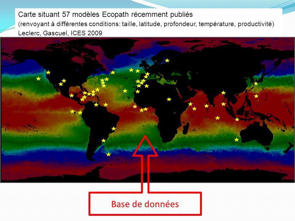Base de données Carte situant 57 modèles Ecopath récemment publiés