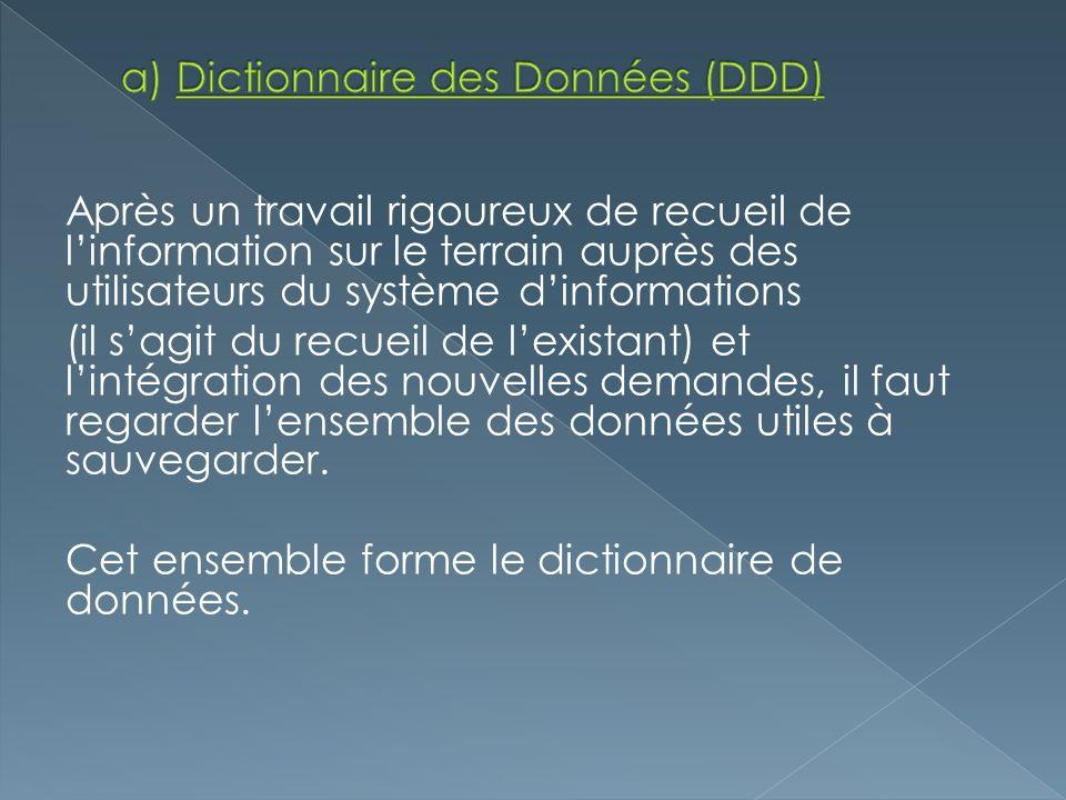 a) Dictionnaire des Données (DDD)