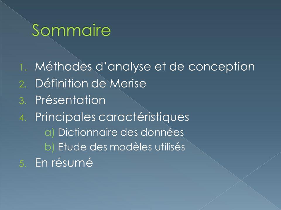 Sommaire Méthodes d'analyse et de conception Définition de Merise