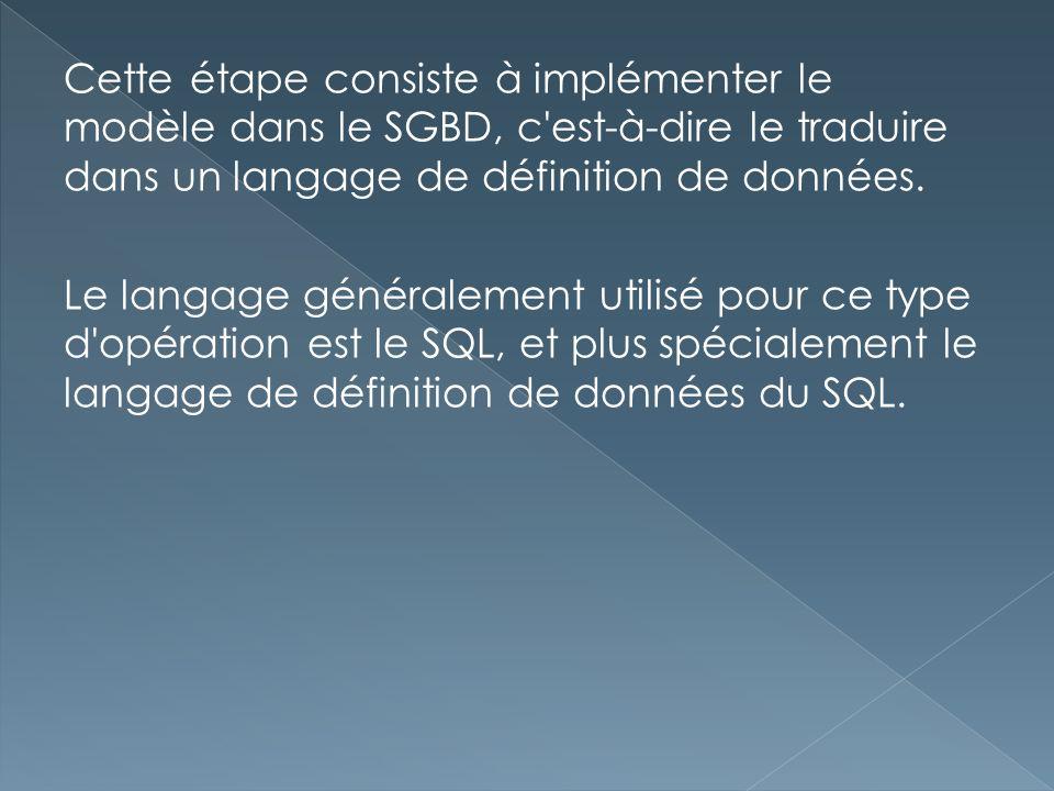 Cette étape consiste à implémenter le modèle dans le SGBD, c est-à-dire le traduire dans un langage de définition de données.