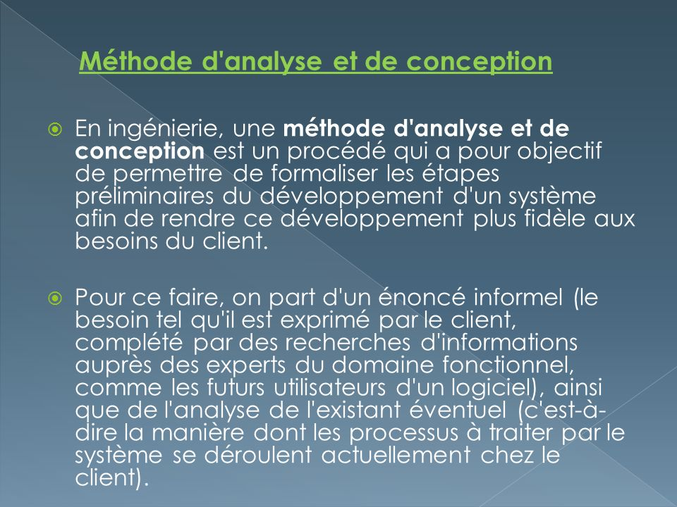 Méthode d analyse et de conception