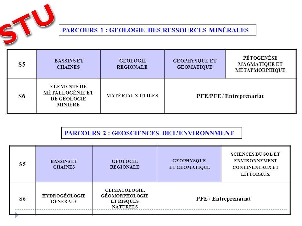 STU S5 PARCOURS 1 : GEOLOGIE DES RESSOURCES MINÉRALES S6