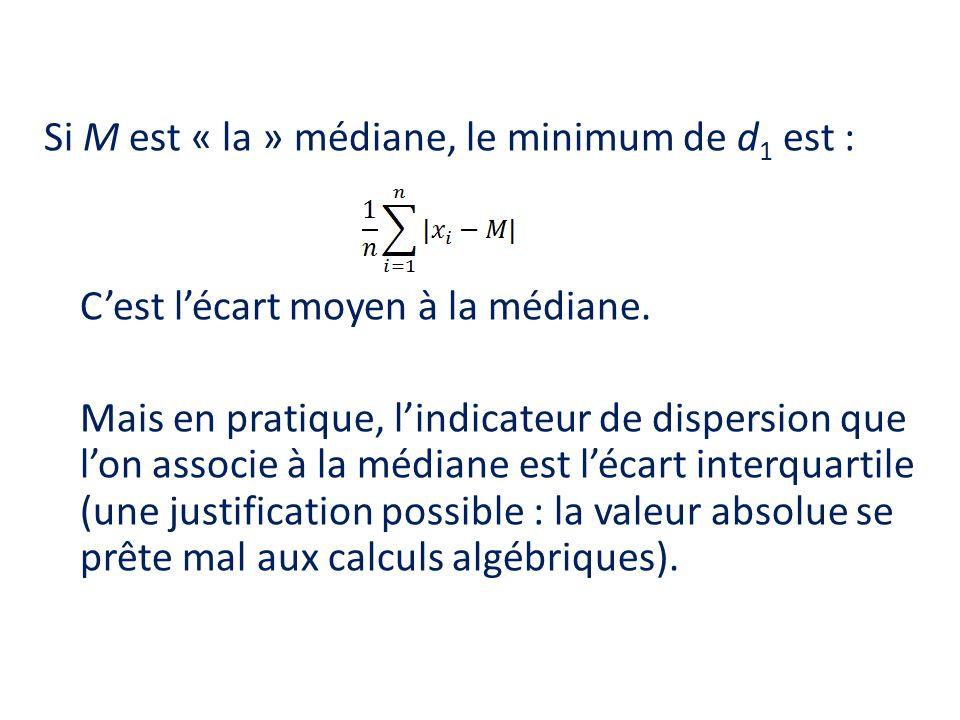 Si M est « la » médiane, le minimum de d1 est : C'est l'écart moyen à la médiane.