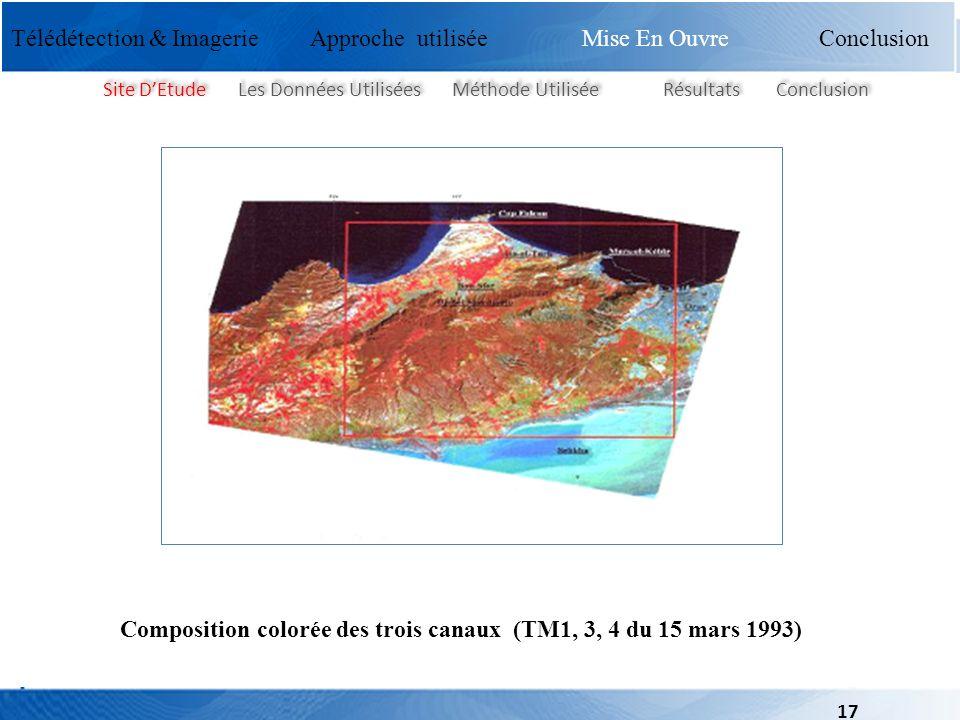 Composition colorée des trois canaux (TM1, 3, 4 du 15 mars 1993)